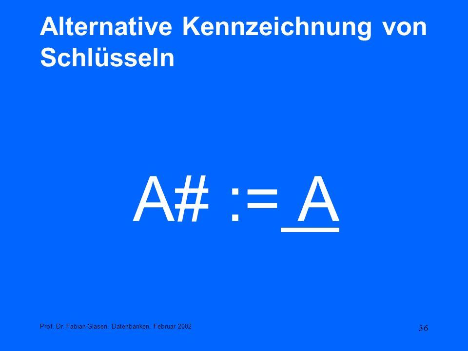 36 Alternative Kennzeichnung von Schlüsseln A# := A Prof. Dr. Fabian Glasen, Datenbanken, Februar 2002