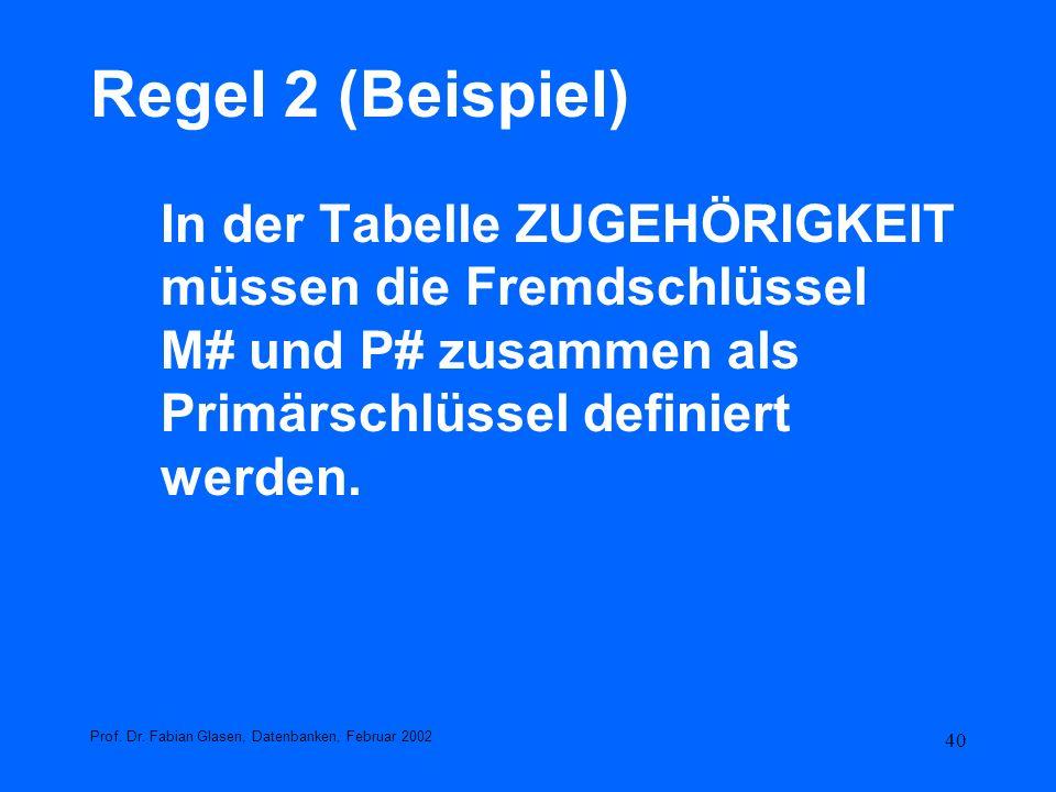 40 Regel 2 (Beispiel) In der Tabelle ZUGEHÖRIGKEIT müssen die Fremdschlüssel M# und P# zusammen als Primärschlüssel definiert werden. Prof. Dr. Fabian