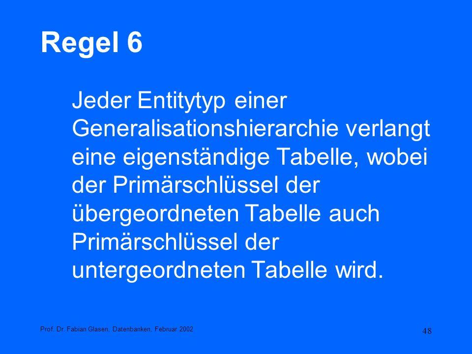 48 Regel 6 Jeder Entitytyp einer Generalisationshierarchie verlangt eine eigenständige Tabelle, wobei der Primärschlüssel der übergeordneten Tabelle a