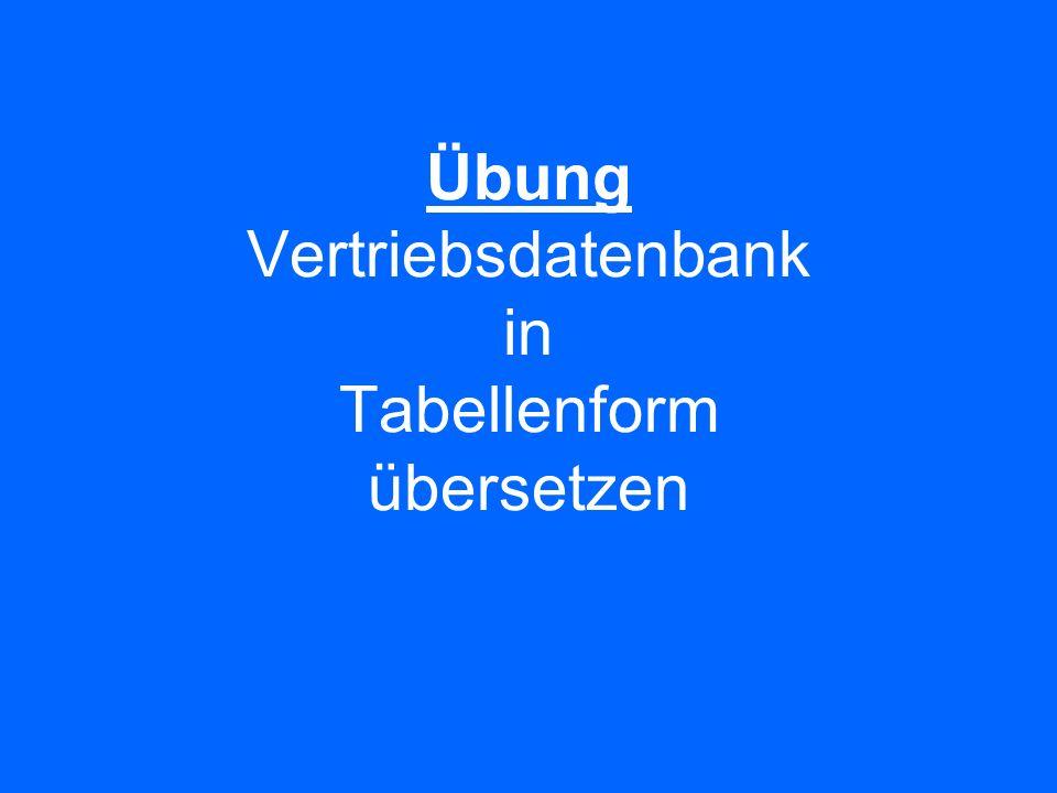 Übung Vertriebsdatenbank in Tabellenform übersetzen