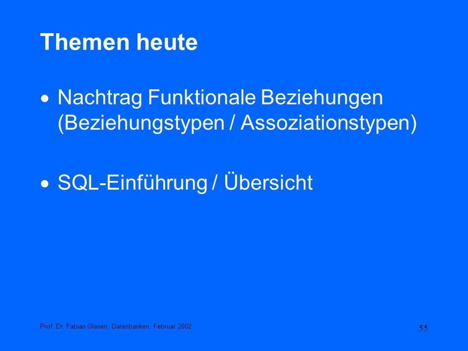 55 Themen heute Nachtrag Funktionale Beziehungen (Beziehungstypen / Assoziationstypen) SQL-Einführung / Übersicht Prof. Dr. Fabian Glasen, Datenbanken