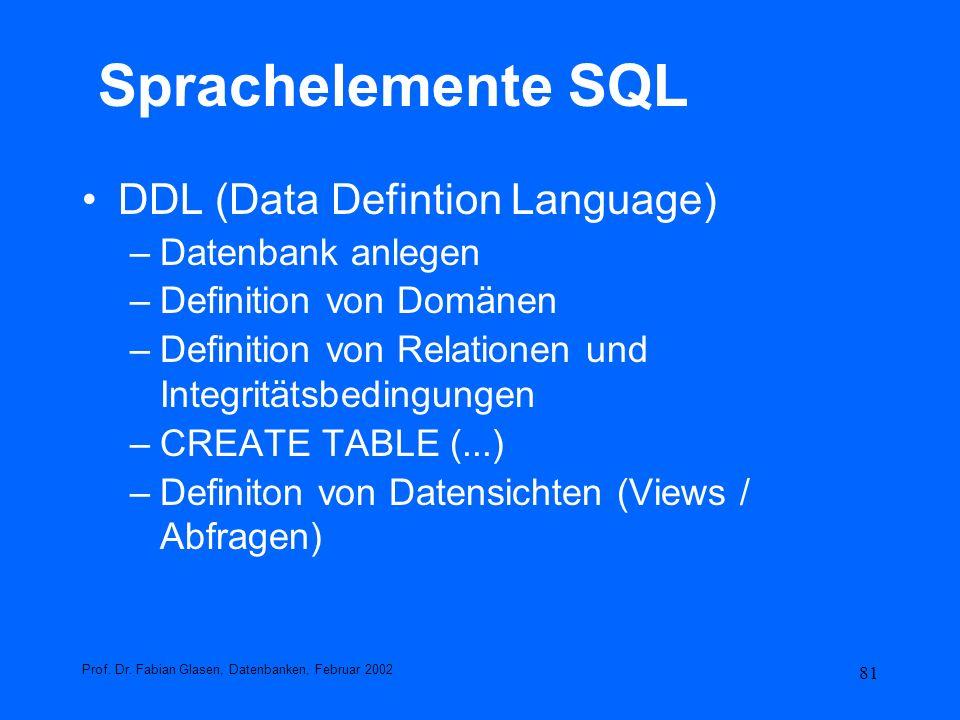 81 Sprachelemente SQL DDL (Data Defintion Language) –Datenbank anlegen –Definition von Domänen –Definition von Relationen und Integritätsbedingungen –