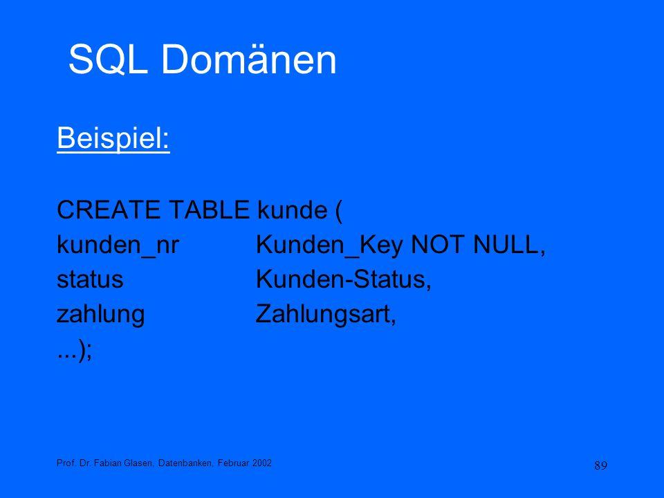 89 SQL Domänen Beispiel: CREATE TABLE kunde ( kunden_nrKunden_Key NOT NULL, statusKunden-Status, zahlungZahlungsart,...); Prof. Dr. Fabian Glasen, Dat