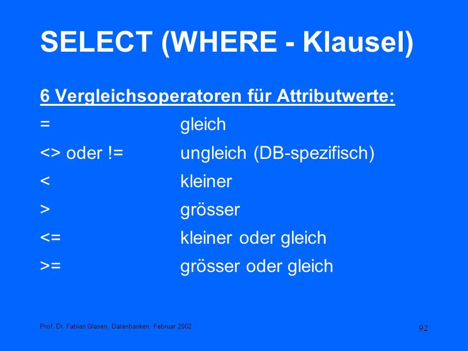 92 SELECT (WHERE - Klausel) 6 Vergleichsoperatoren für Attributwerte: =gleich <> oder !=ungleich (DB-spezifisch) <kleiner >grösser <=kleiner oder glei
