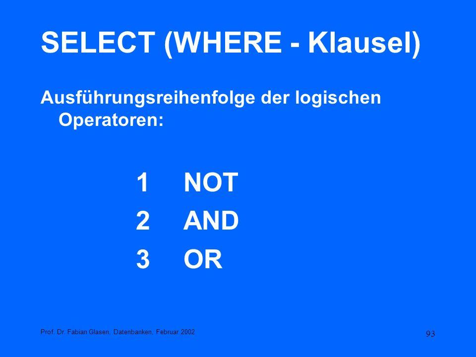 93 SELECT (WHERE - Klausel) Ausführungsreihenfolge der logischen Operatoren: 1NOT 2 AND 3OR Prof. Dr. Fabian Glasen, Datenbanken, Februar 2002