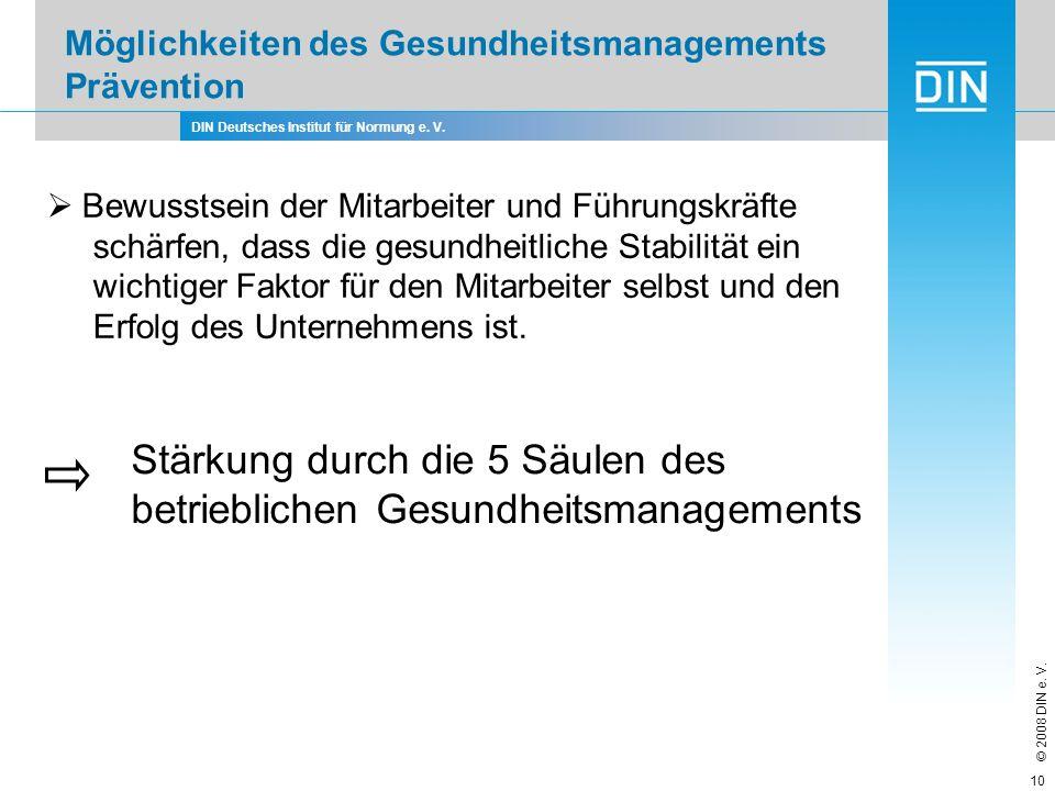 DIN Deutsches Institut für Normung e. V. © 2008 DIN e. V. 10 Möglichkeiten des Gesundheitsmanagements Prävention Bewusstsein der Mitarbeiter und Führu