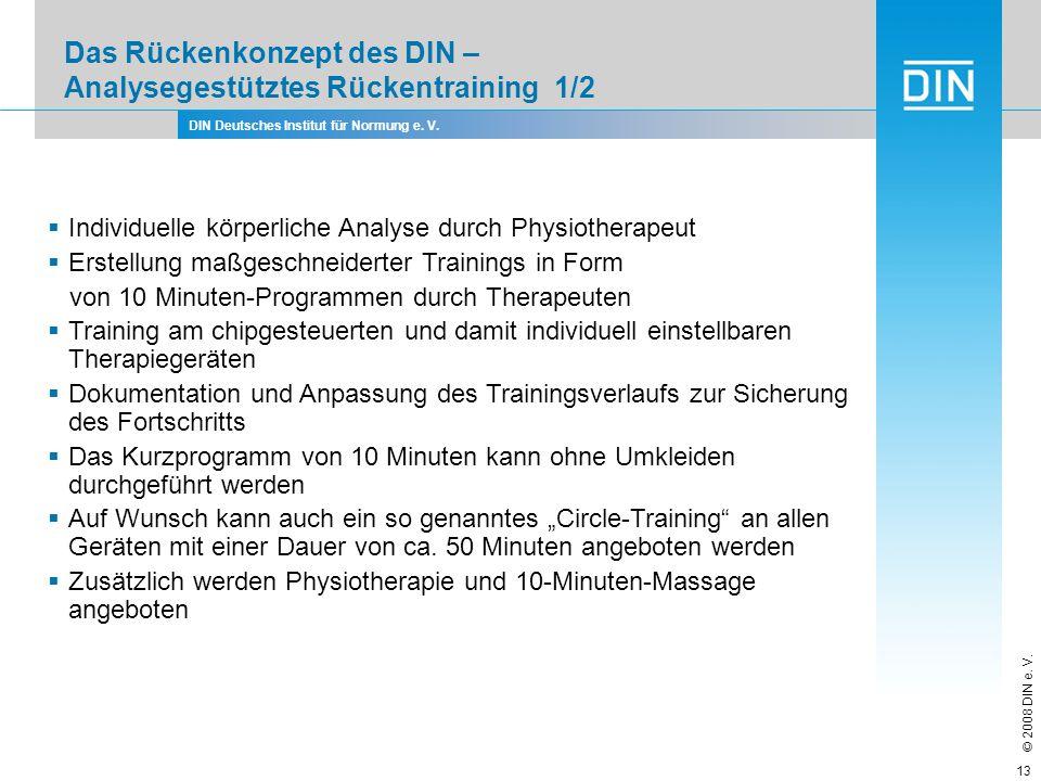 DIN Deutsches Institut für Normung e. V. © 2008 DIN e. V. 13 Das Rückenkonzept des DIN – Analysegestütztes Rückentraining 1/2 Individuelle körperliche