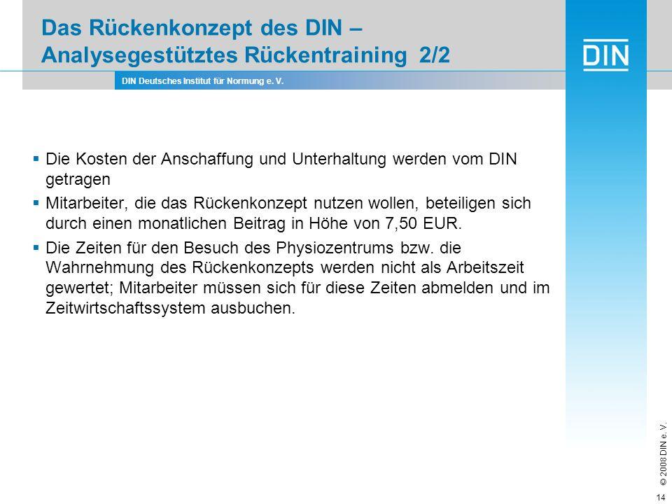DIN Deutsches Institut für Normung e. V. © 2008 DIN e. V. 14 Das Rückenkonzept des DIN – Analysegestütztes Rückentraining 2/2 Die Kosten der Anschaffu