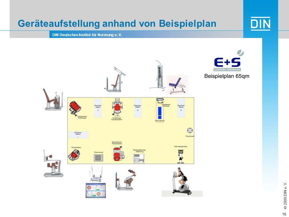 DIN Deutsches Institut für Normung e. V. © 2008 DIN e. V. 16 Geräteaufstellung anhand von Beispielplan