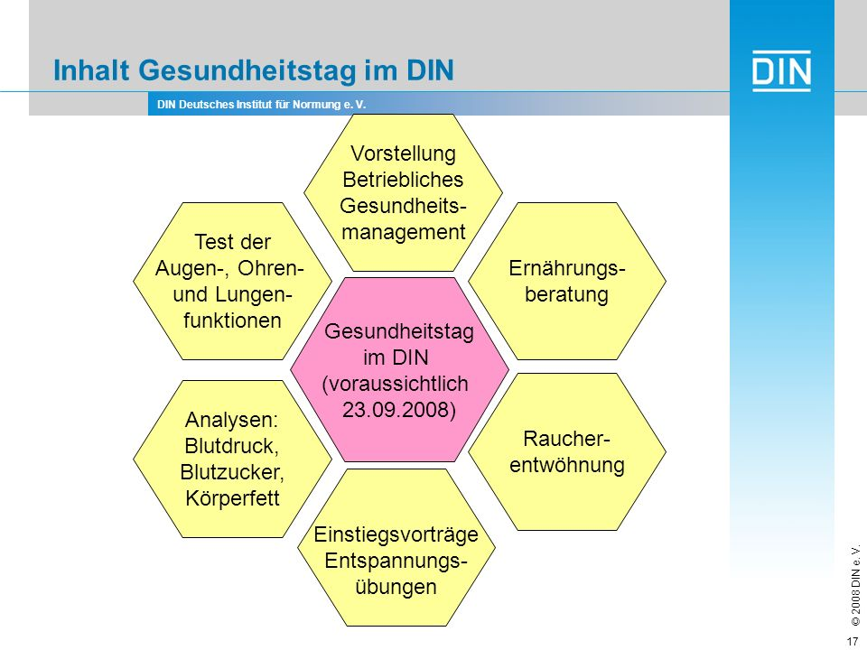 DIN Deutsches Institut für Normung e. V. © 2008 DIN e. V. 17 Inhalt Gesundheitstag im DIN Gesundheitstag im DIN (voraussichtlich 23.09.2008) Raucher-