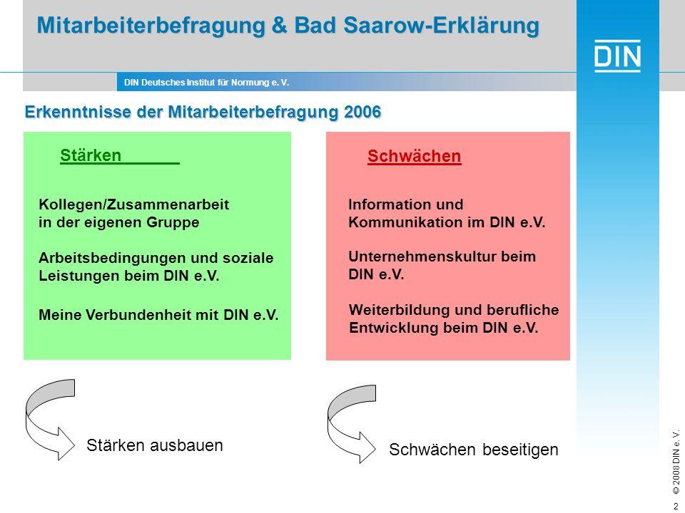 DIN Deutsches Institut für Normung e. V. © 2008 DIN e. V. 2 Mitarbeiterbefragung & Bad Saarow-Erklärung Mitarbeiterbefragung & Bad Saarow-Erklärung Me