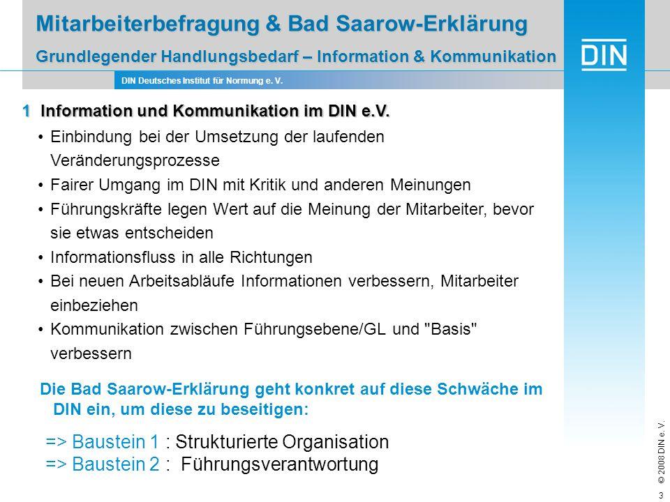 DIN Deutsches Institut für Normung e. V. © 2008 DIN e. V. 3 Einbindung bei der Umsetzung der laufenden Veränderungsprozesse Fairer Umgang im DIN mit K