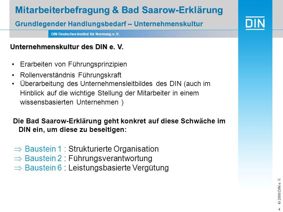 DIN Deutsches Institut für Normung e. V. © 2008 DIN e. V. 4 Mitarbeiterbefragung & Bad Saarow-Erklärung Grundlegender Handlungsbedarf – Unternehmensku