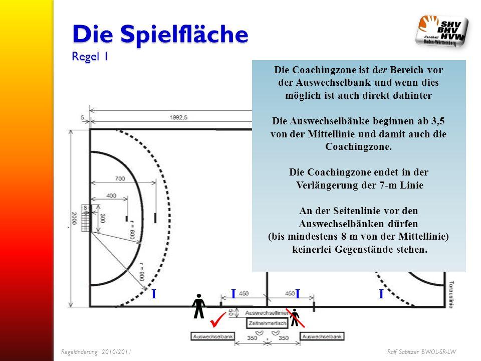 Die Spielfläche Regel 1 IIII Die Coachingzone ist der Bereich vor der Auswechselbank und wenn dies möglich ist auch direkt dahinter Die Auswechselbänk