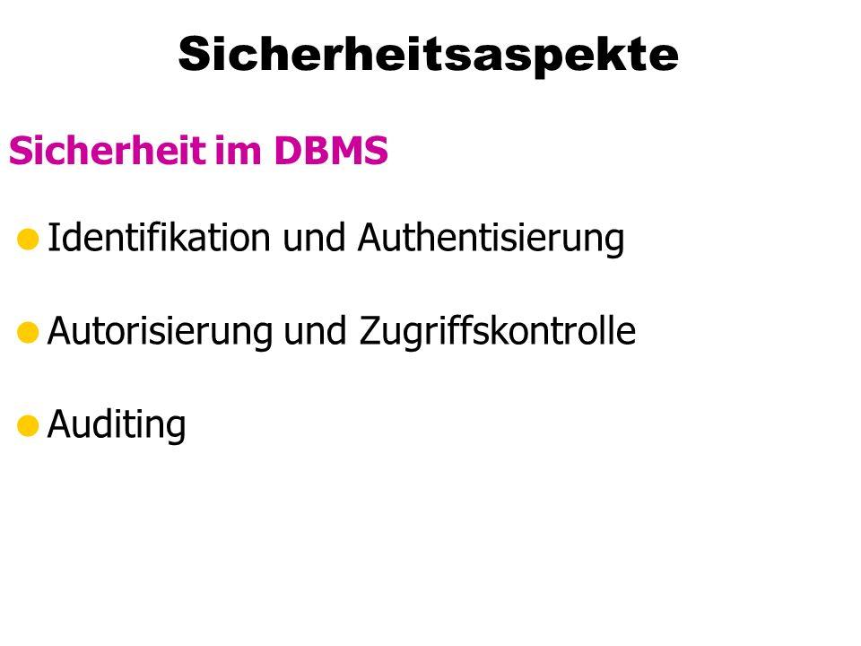 Sicherheitsaspekte Identifikation und Authentisierung Autorisierung und Zugriffskontrolle Auditing Sicherheit im DBMS