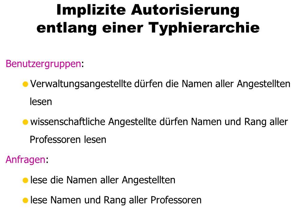 Implizite Autorisierung entlang einer Typhierarchie Benutzergruppen: Verwaltungsangestellte dürfen die Namen aller Angestellten lesen wissenschaftlich