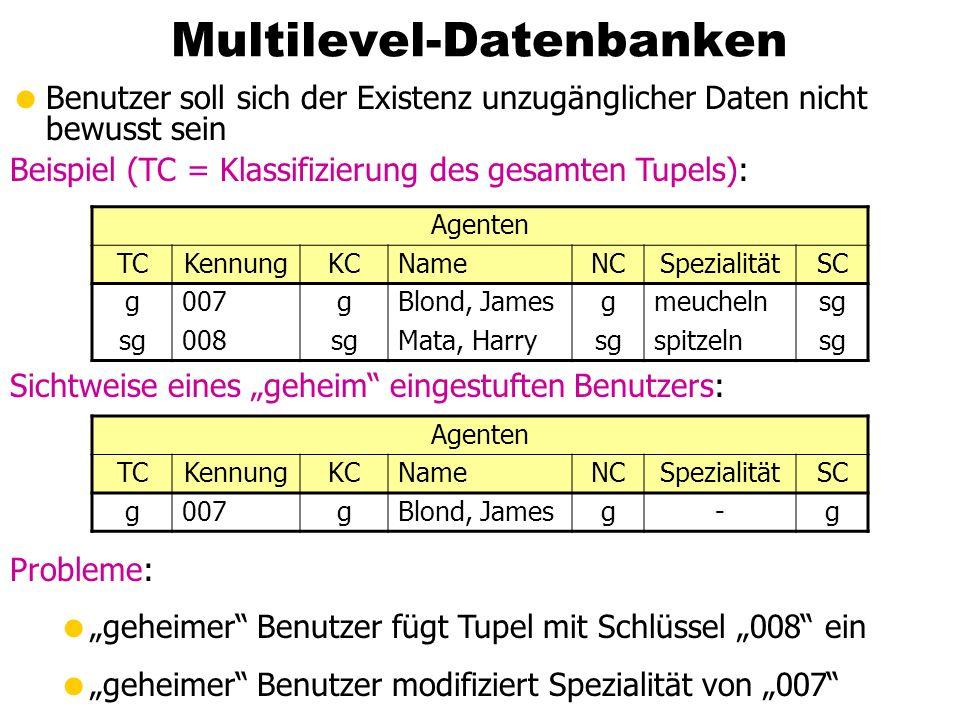 Multilevel-Datenbanken Benutzer soll sich der Existenz unzugänglicher Daten nicht bewusst sein Beispiel (TC = Klassifizierung des gesamten Tupels): Ag