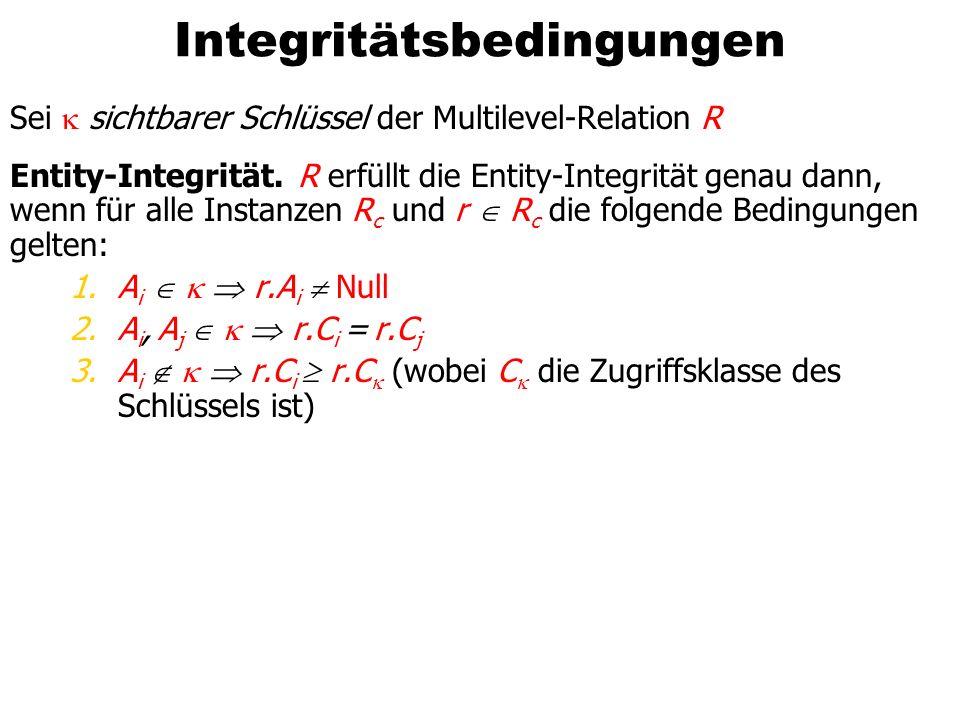 Integritätsbedingungen Sei sichtbarer Schlüssel der Multilevel-Relation R Entity-Integrität.R erfüllt die Entity-Integrität genau dann, wenn für alle