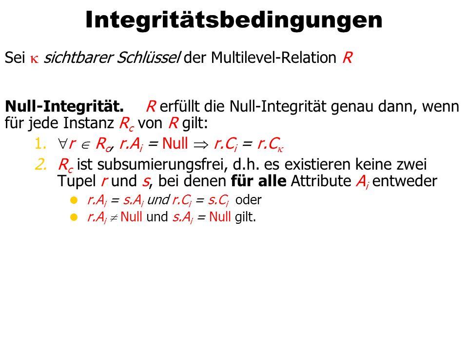 Integritätsbedingungen Sei sichtbarer Schlüssel der Multilevel-Relation R Null-Integrität.R erfüllt die Null-Integrität genau dann, wenn für jede Inst