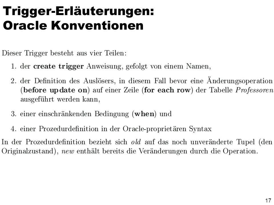 17 Trigger-Erläuterungen: Oracle Konventionen