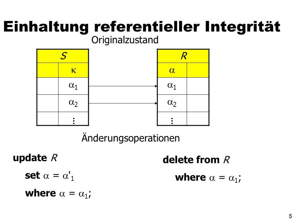 5 Einhaltung referentieller Integrität S 1 2 R 1 2 Originalzustand Änderungsoperationen update R set = ' 1 where = 1 ; delete from R where = 1 ;