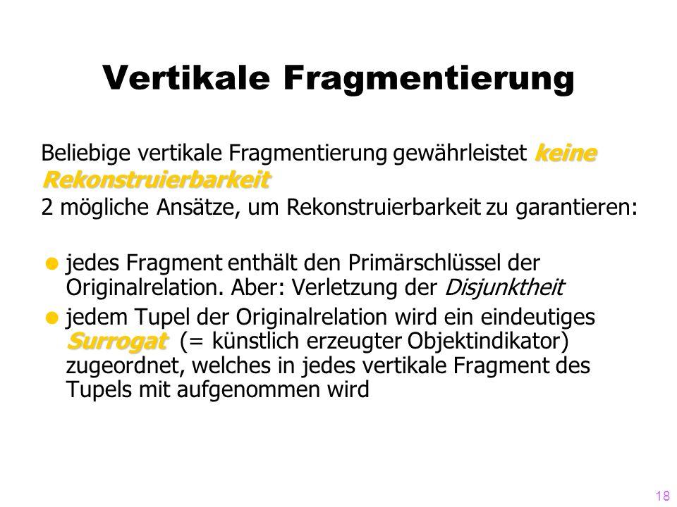 18 Vertikale Fragmentierung jedes Fragment enthält den Primärschlüssel der Originalrelation. Aber: Verletzung der Disjunktheit Surrogat jedem Tupel de