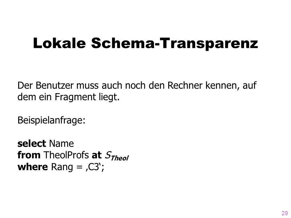 29 Lokale Schema-Transparenz Der Benutzer muss auch noch den Rechner kennen, auf dem ein Fragment liegt. Beispielanfrage: select Name from TheolProfs