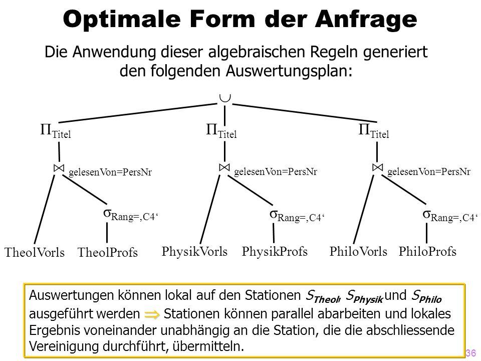 36 Optimale Form der Anfrage Die Anwendung dieser algebraischen Regeln generiert den folgenden Auswertungsplan: Π Titel A gelesenVon=PersNr σ Rang=C4