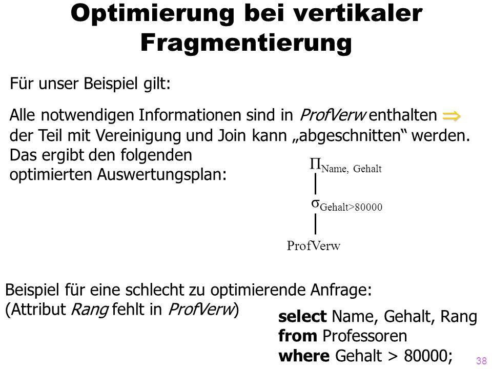 38 Optimierung bei vertikaler Fragmentierung Für unser Beispiel gilt: Alle notwendigen Informationen sind in ProfVerw enthalten der Teil mit Vereinigu