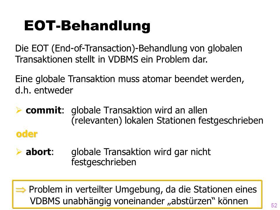 52 EOT-Behandlung commit: globale Transaktion wird an allen (relevanten) lokalen Stationen festgeschrieben Die EOT (End-of-Transaction)-Behandlung von