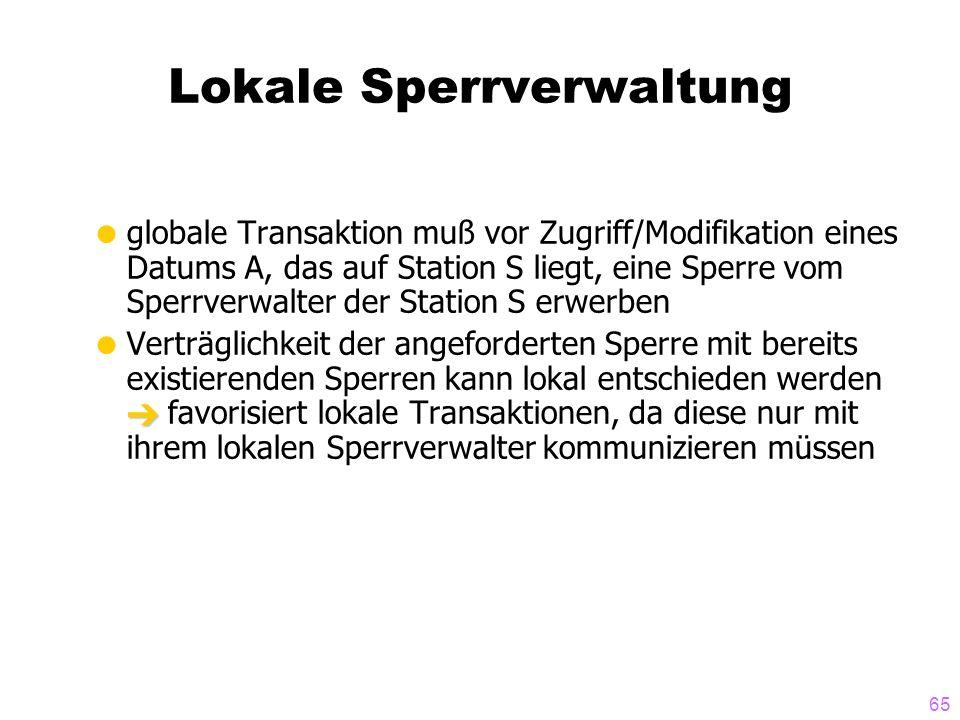 65 Lokale Sperrverwaltung globale Transaktion muß vor Zugriff/Modifikation eines Datums A, das auf Station S liegt, eine Sperre vom Sperrverwalter der