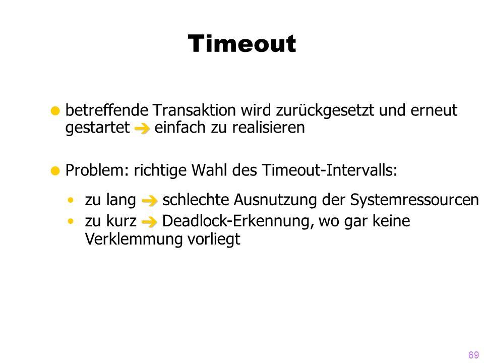 69 Timeout betreffende Transaktion wird zurückgesetzt und erneut gestartet einfach zu realisieren Problem: richtige Wahl des Timeout-Intervalls: zu la