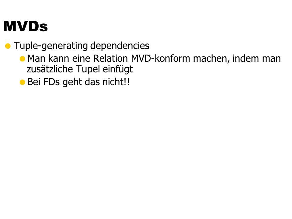 Mehrwertige Abhängigkeiten gilt genau dann wenn Wenn es zwei Tupel t1 und t2 mit gleichen –Werten gibt Dann muss es auch zwei Tupel t3 und t4 geben mi