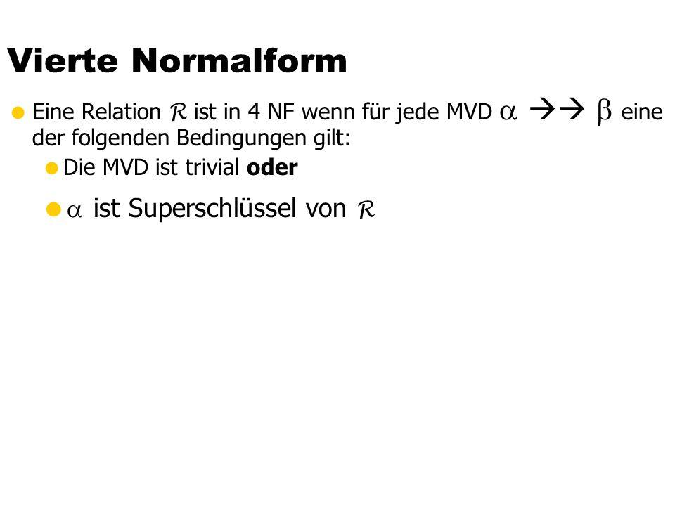 Triviale MVDs … … sind solche, die von jeder Relationenausprägung erfüllt werden Eine MVD ist trivial genau dann wenn oder = R -