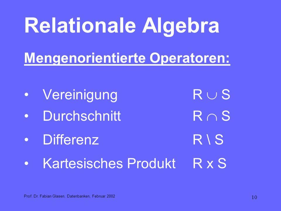 10 Relationale Algebra Mengenorientierte Operatoren: VereinigungR S DurchschnittR S DifferenzR \ S Kartesisches ProduktR x S Prof. Dr. Fabian Glasen,