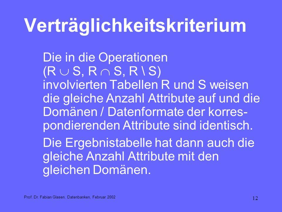 12 Verträglichkeitskriterium Die in die Operationen (R S, R S, R \ S) involvierten Tabellen R und S weisen die gleiche Anzahl Attribute auf und die Do
