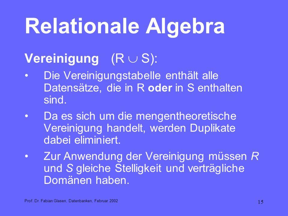 15 Relationale Algebra Vereinigung(R S): Die Vereinigungstabelle enthält alle Datensätze, die in R oder in S enthalten sind. Da es sich um die mengent