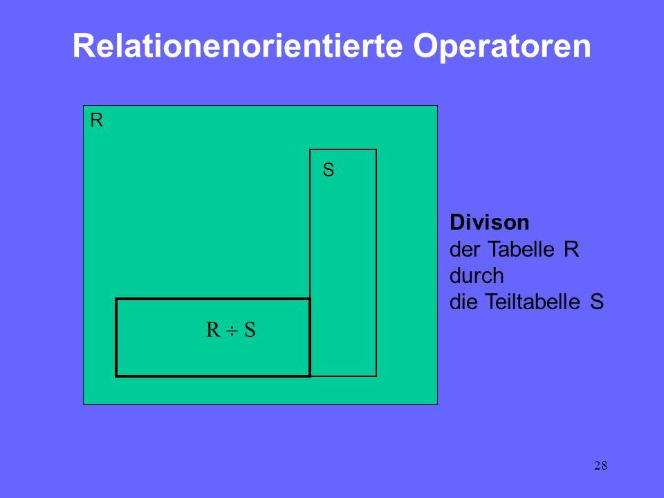 28 Relationenorientierte Operatoren R Divison der Tabelle R durch die Teiltabelle S R S S