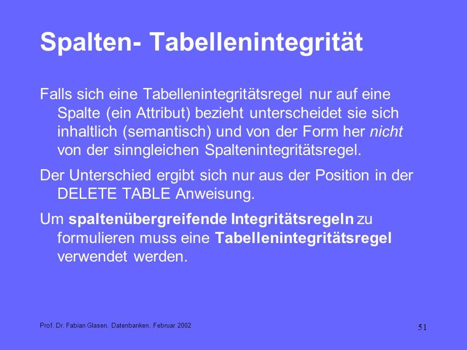 51 Spalten- Tabellenintegrität Falls sich eine Tabellenintegritätsregel nur auf eine Spalte (ein Attribut) bezieht unterscheidet sie sich inhaltlich (