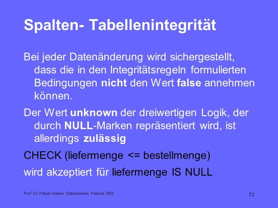 52 Spalten- Tabellenintegrität Bei jeder Datenänderung wird sichergestellt, dass die in den Integritätsregeln formulierten Bedingungen nicht den Wert