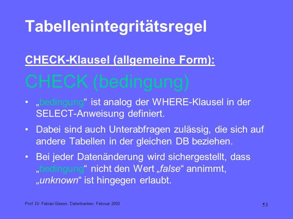 53 Tabellenintegritätsregel CHECK-Klausel (allgemeine Form): CHECK (bedingung) bedingung ist analog der WHERE-Klausel in der SELECT-Anweisung definier