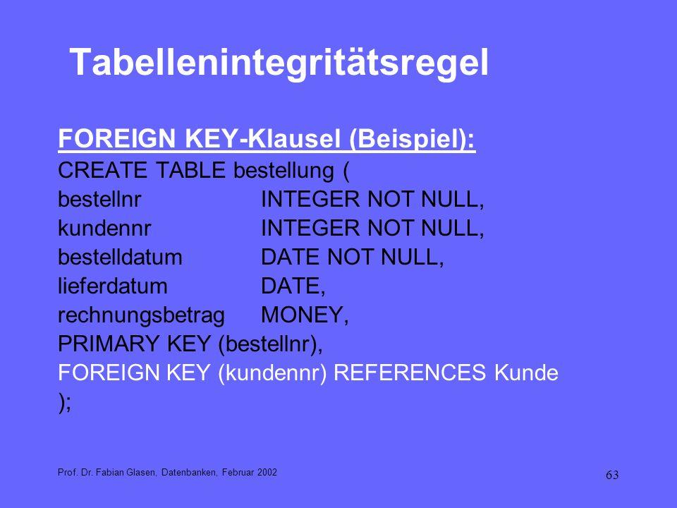 63 Tabellenintegritätsregel FOREIGN KEY-Klausel (Beispiel): CREATE TABLE bestellung ( bestellnrINTEGER NOT NULL, kundennrINTEGER NOT NULL, bestelldatu