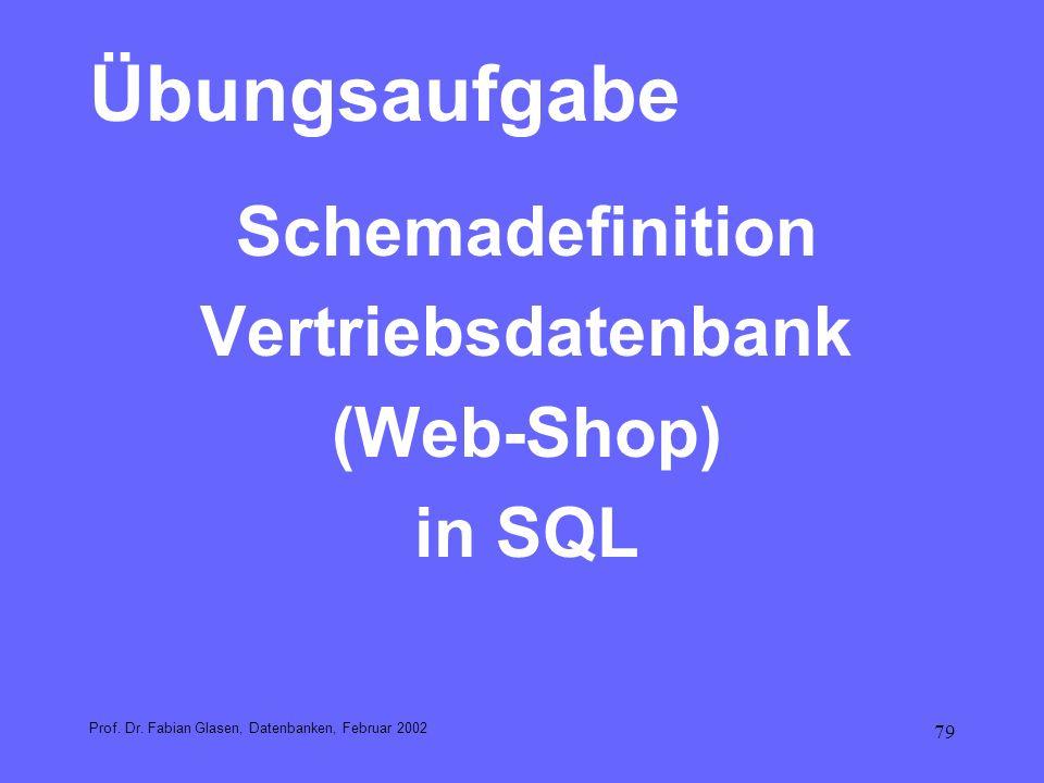79 Übungsaufgabe Schemadefinition Vertriebsdatenbank (Web-Shop) in SQL Prof. Dr. Fabian Glasen, Datenbanken, Februar 2002
