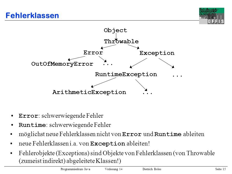 Programmierkurs Java Vorlesung 14 Dietrich Boles Seite 15 Fehlerklassen Error : schwerwiegende Fehler Runtime : schwerwiegende Fehler möglichst neue F