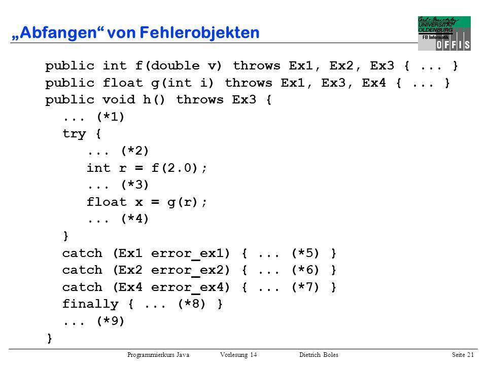 Programmierkurs Java Vorlesung 14 Dietrich Boles Seite 21 Abfangen von Fehlerobjekten public int f(double v) throws Ex1, Ex2, Ex3 {... } public float