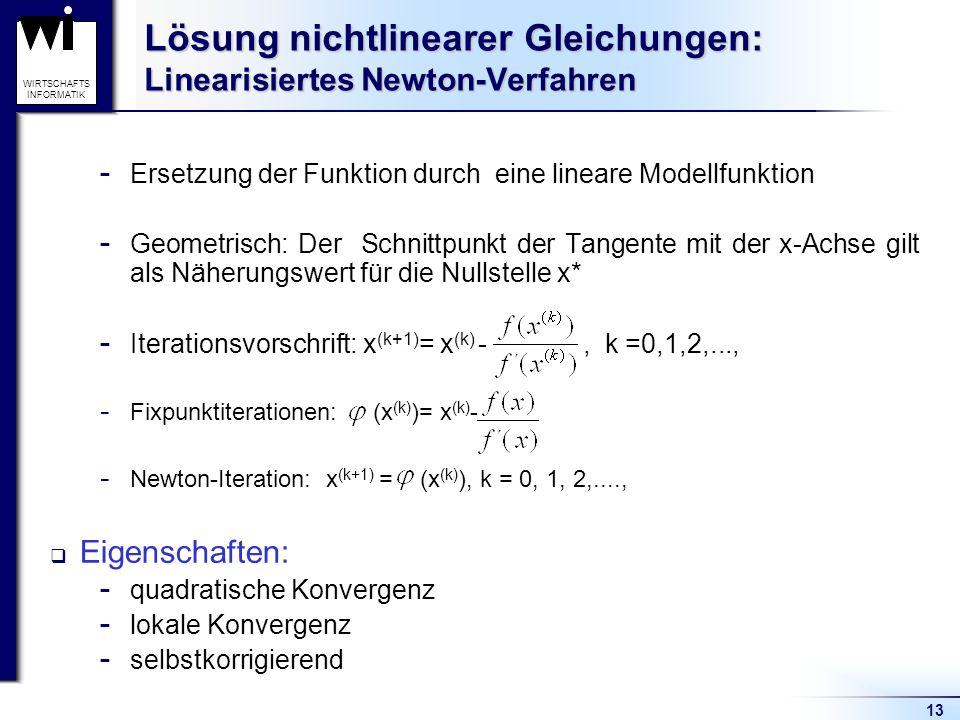 13 WIRTSCHAFTS INFORMATIK Lösung nichtlinearer Gleichungen: Linearisiertes Newton-Verfahren  Ersetzung der Funktion durch eine lineare Modellfunktion