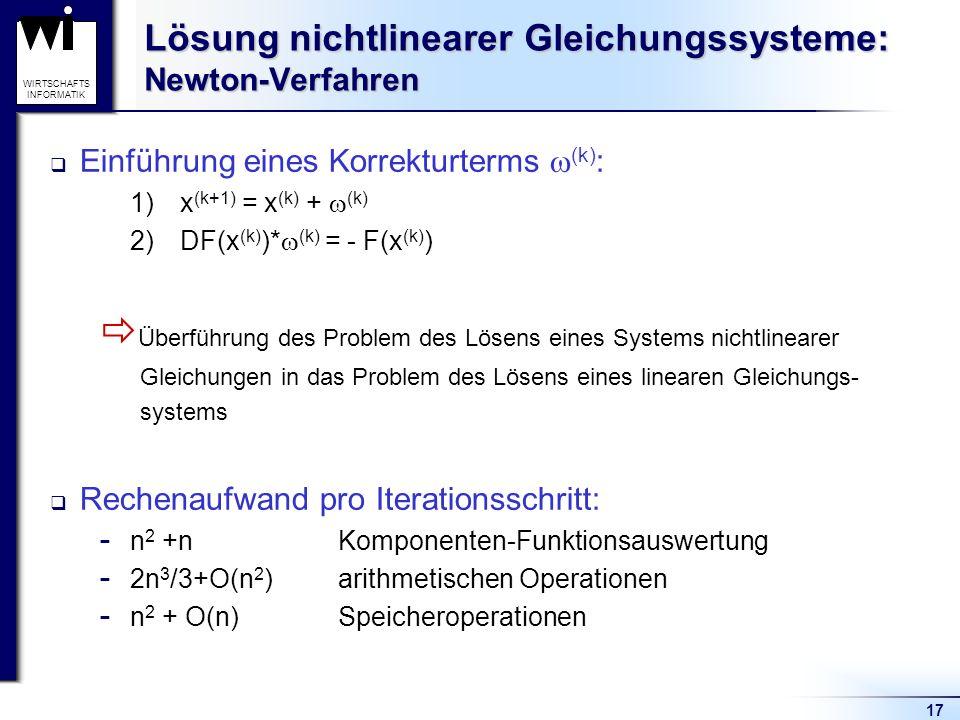 17 WIRTSCHAFTS INFORMATIK Lösung nichtlinearer Gleichungssysteme: Newton-Verfahren Einführung eines Korrekturterms (k) : 1) x (k+1) = x (k) + (k) 2) D