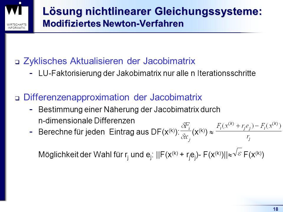 18 WIRTSCHAFTS INFORMATIK Lösung nichtlinearer Gleichungssysteme: Modifiziertes Newton-Verfahren Zyklisches Aktualisieren der Jacobimatrix  LU-Faktor
