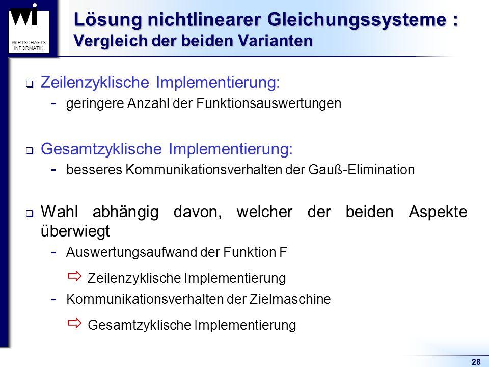 28 WIRTSCHAFTS INFORMATIK Lösung nichtlinearer Gleichungssysteme : Vergleich der beiden Varianten Zeilenzyklische Implementierung:  geringere Anzahl