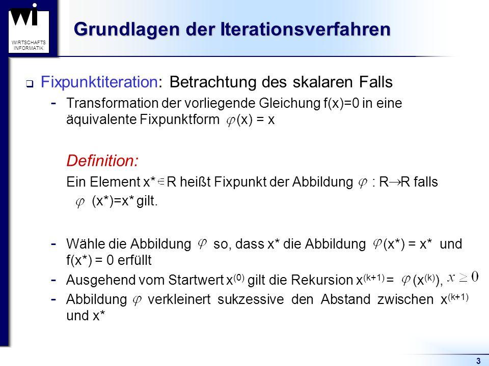 3 WIRTSCHAFTS INFORMATIK Grundlagen der Iterationsverfahren Fixpunktiteration: Betrachtung des skalaren Falls  Transformation der vorliegende Gleichu